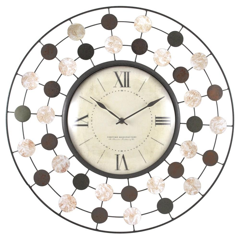 Shasta Wire 20 Round Wall Clock Brown/Sage - FirsTime