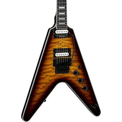 Dean V Select with Floyd Quilt Top Electric Guitar Quilt Trans Brazilia