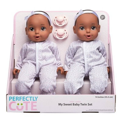 "Perfectly Cute 14"" My Sweet Baby Girl Doll Twin Set - Brunette with Brown Eyes"