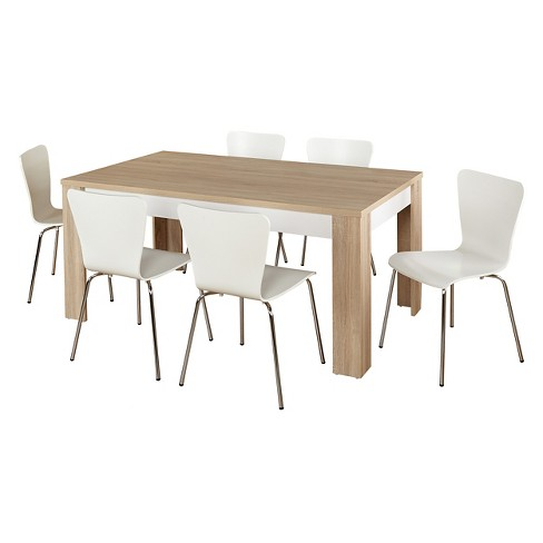 Mandy Dining Set Natural White 7 Piece