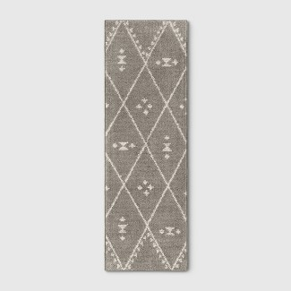 "2'4""X7' Diamond Woven Accent Rugs Gray - Project 62™"