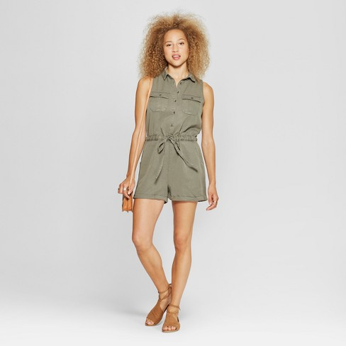 Women's Utility Romper - Universal Thread™ Olive - image 1 of 3