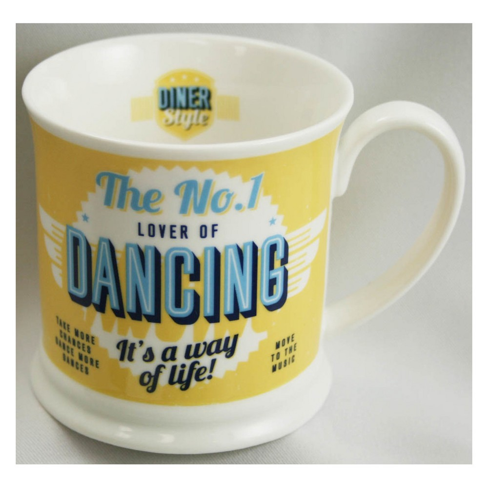 Image of Dancing Diner Style Mug - History & Heraldry, Yellow