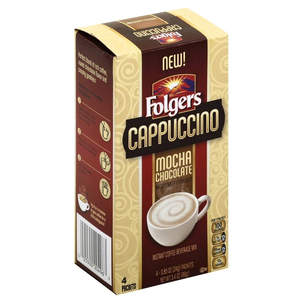 Folgers Cappuccino Mocha Chocolate Beverage Mix Instant Coffee - 4ct
