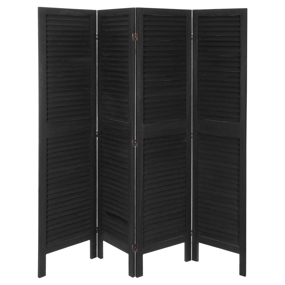 5 1/2 ft. Tall Modern Venetian Room Divider - Black (4 Panels)