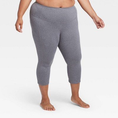Women S Plus Size Simplicity Mid Rise Capri Leggings 20 All In Motion Charcoal Gray 4x Target