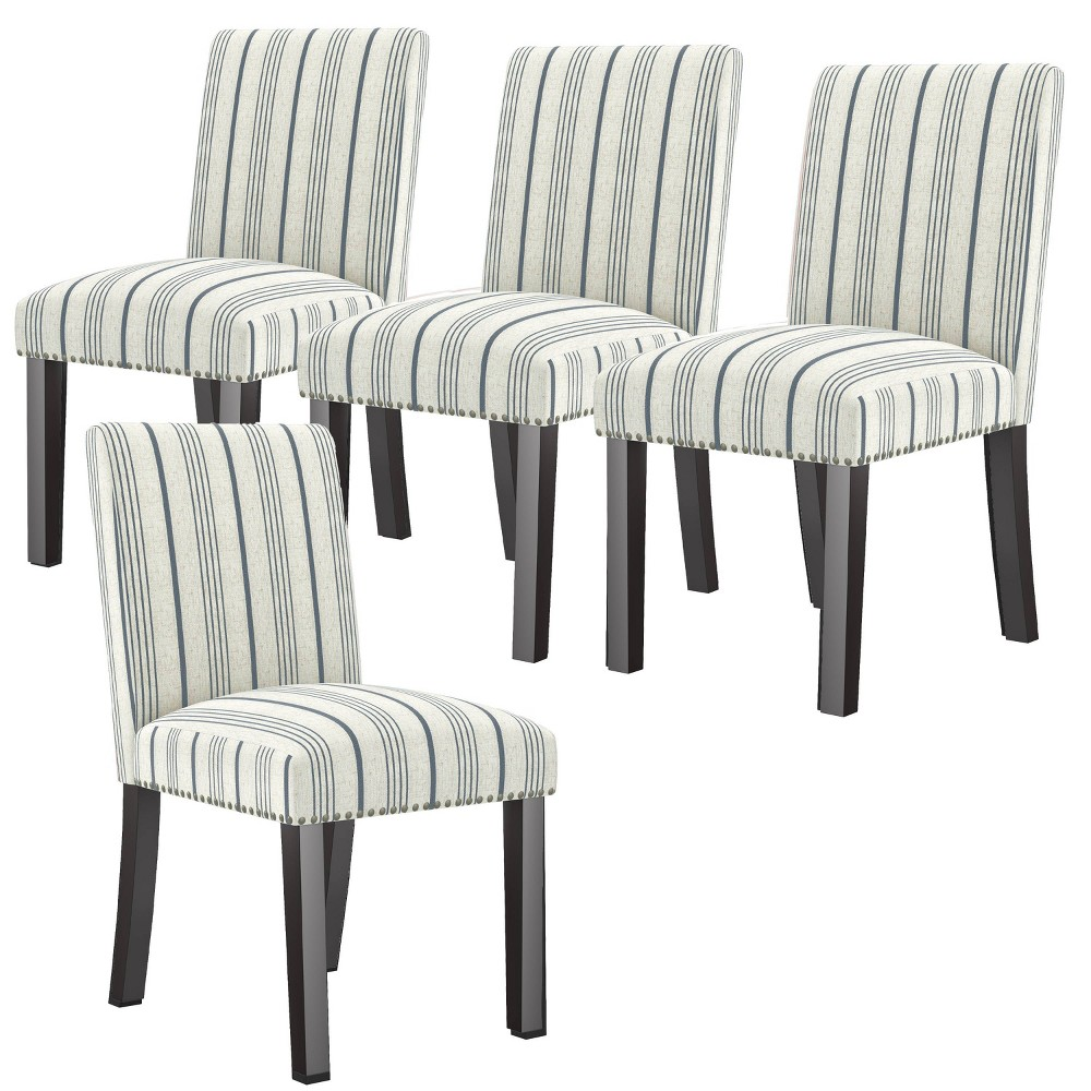 Set Of 4 Blanca Upholstered Dining Chairs Woven Striped Denim Blue Handy Living
