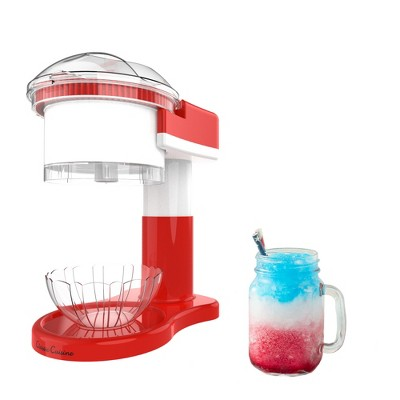 """Hastings Home Electric Shaved Ice Machine and Snow Cone Maker for Home Use - 7"""" x 12"""", Red/White"""
