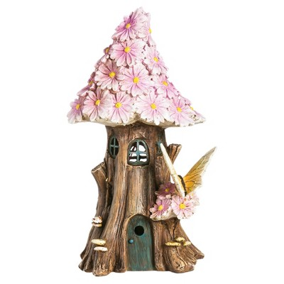 9.75  Spring Petals Solar Fairy House - Multi Color - Evergreen Enterprises