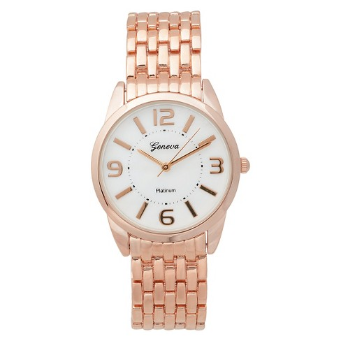 Women's  Geneva Platinum  Classic Round Face Basketweave Link Watch - image 1 of 3