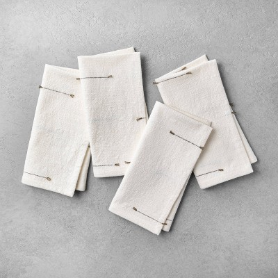 4pk Texture Dash Napkin Set Dark Green / Sour Cream - Hearth & Hand™ with Magnolia