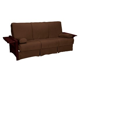 Brooklyn Perfect Futon Sofa Sleeper   Mahogany Wood Finish   Sit N Sleep