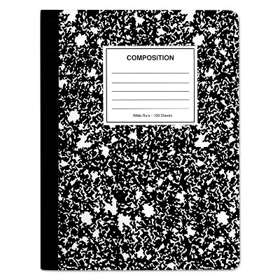 UNIVERSAL Composition Book Wide Rule 9 3/4 x 7 1/2 White 100 Sheets 20930