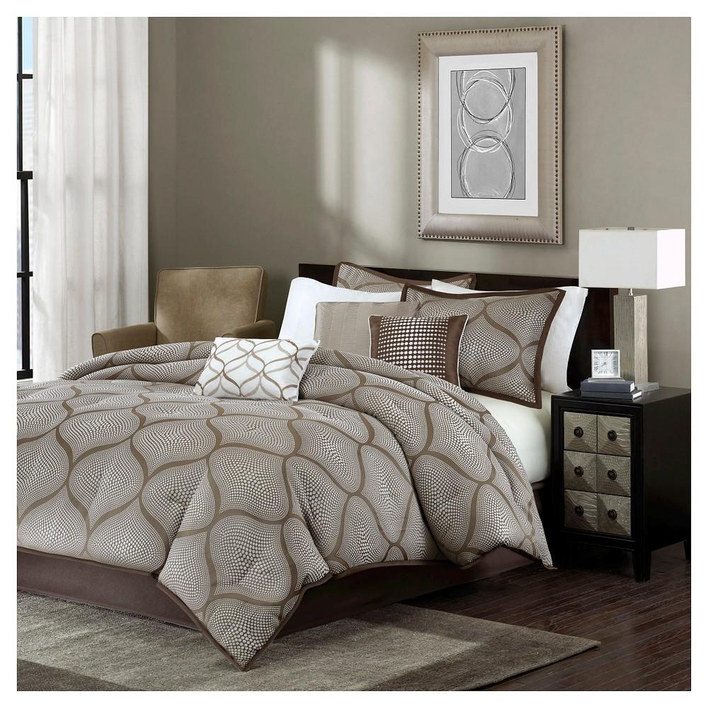 Cyrus Comforter Set (California King) Mocha - 7pc, Mocha Black
