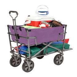 Mac Sports Heavy Duty Steel Double Decker Collapsible Yard Cart Wagon, Purple