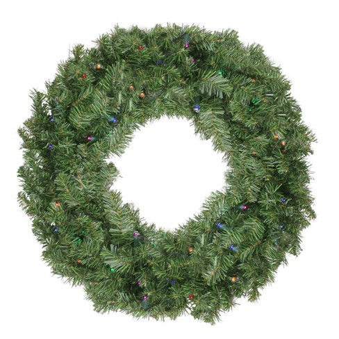 Northlight 24 Prelit Led Battery Operated Canadian Pine Artificial Christmas Wreath Multi Lights