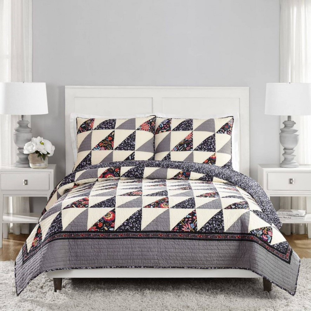 King 3pc Foxwood Flying Geese Reversible Quilt Set Gray Vera Bradley