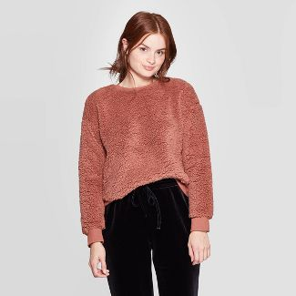Women's Long Sleeve Crewneck Sherpa Pullover - A New Day™ Brown S