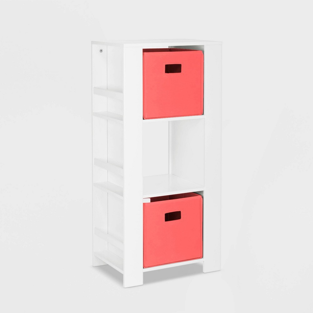Image of 2pc Bin Book Nook Kids Cubby Storage Tower with Bookshelves Coral - RiverRidge