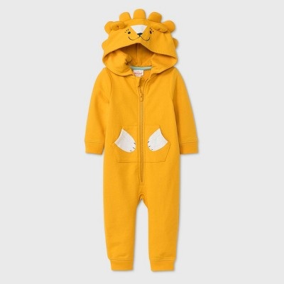 Baby Boys' Lion Long Sleeve Romper - Cat & Jack™ Gold 0-3M