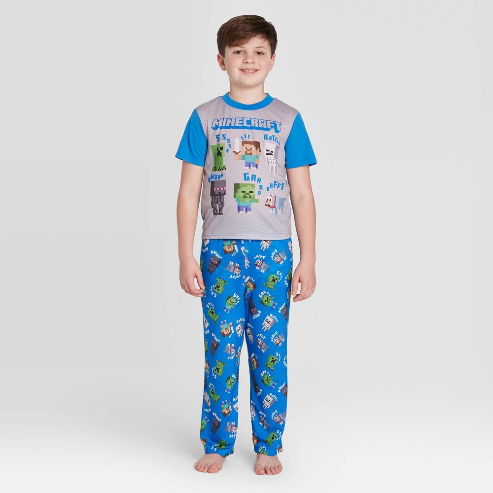 Image of Boys' Minecraft 2pc Pajama Set - Blue 6, Boy's