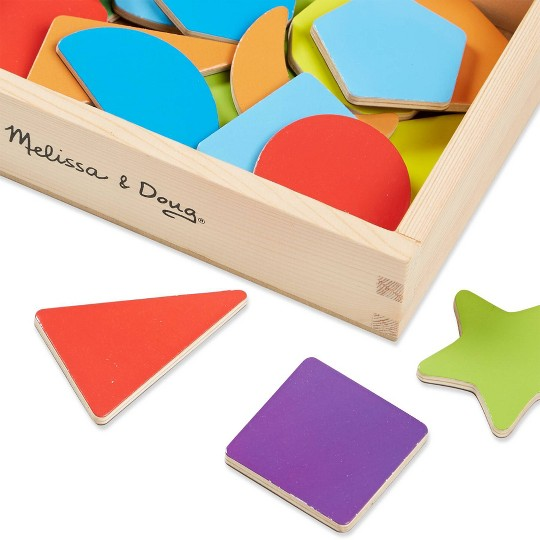 Melissa & Doug 25 Wooden Shape and Color Magnets in a Box image number null