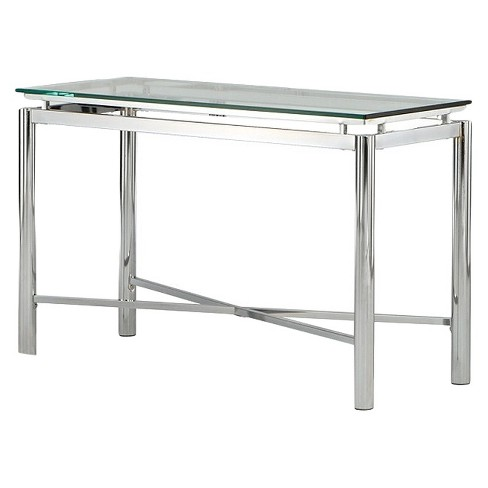 Nova Sofa Table Chrome And Gl Steve Silver
