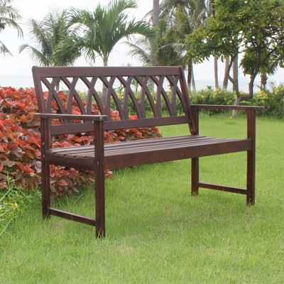 Charmant Criss Cross Acacia Wood Garden Bench   Natural Wood   Merry Products