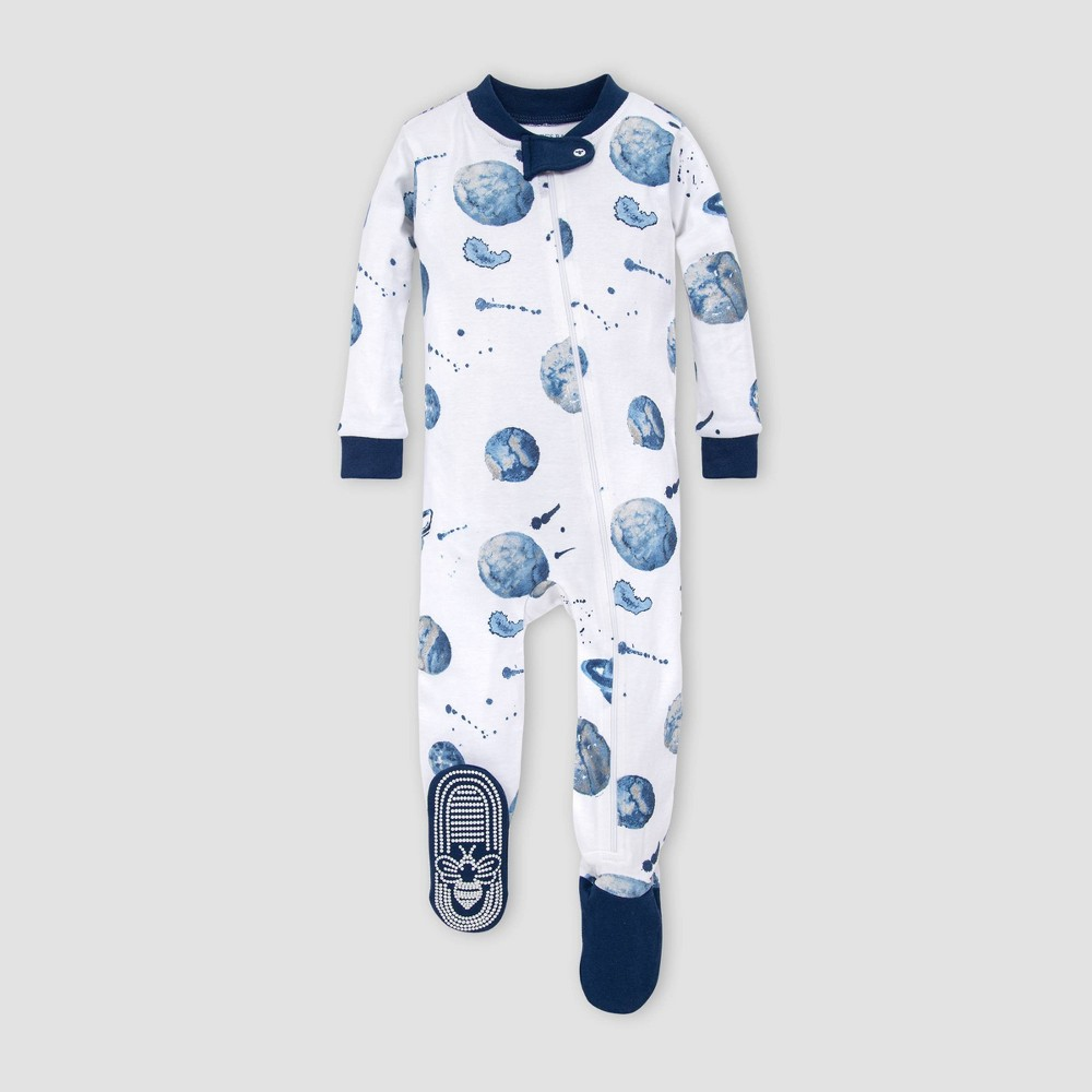 Image of Burt's Bees Baby Baby Boys' Planets Organic Cotton Footed Pajama - Purple 12M, Boy's, Blue