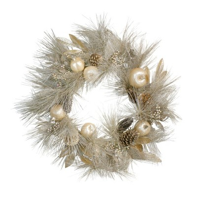 Northlight Champagne Gold Pomegranate and Apple Pine Needle Christmas Wreath - 24-Inch, Unlit