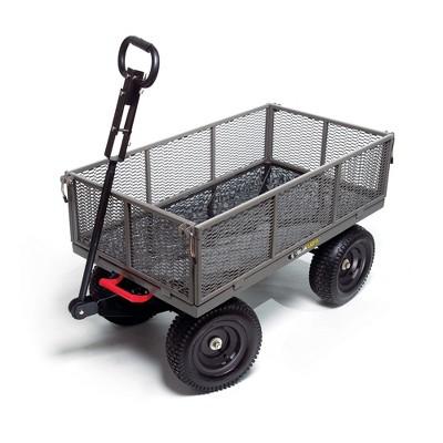 Gorilla Cart GORMP-12 5 Cubic Feet 1200 Pound Capacity Heavy Duty Durable Steel Multi Use Quick Dump Wagon Utility Cart w/ 2 In 1 Towing Handle, Gray