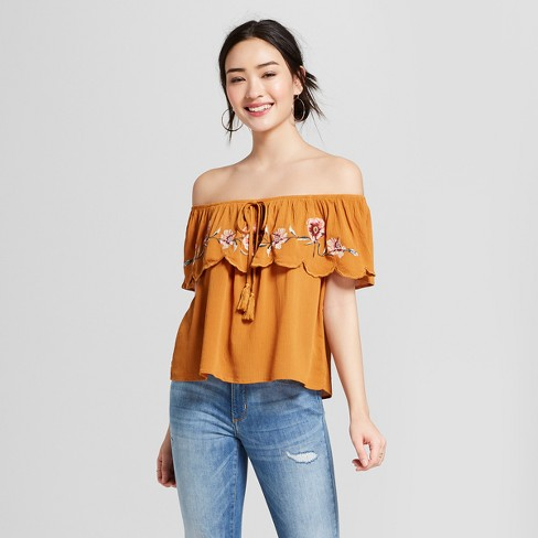 f46e3537b5acb3 Women's Short Sleeve Off the Shoulder Flounce Embroidered Crop Top -  Xhilaration™