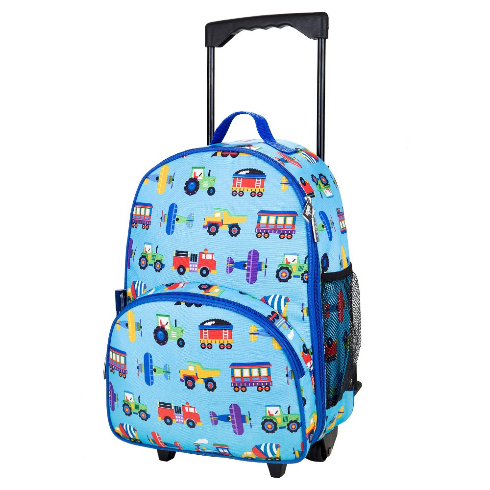 """Image of """"WildKin 34"""""""" Olive Kids' Rolling Carry On Suitcase - Trains-Planes & Trucks, Blue"""""""