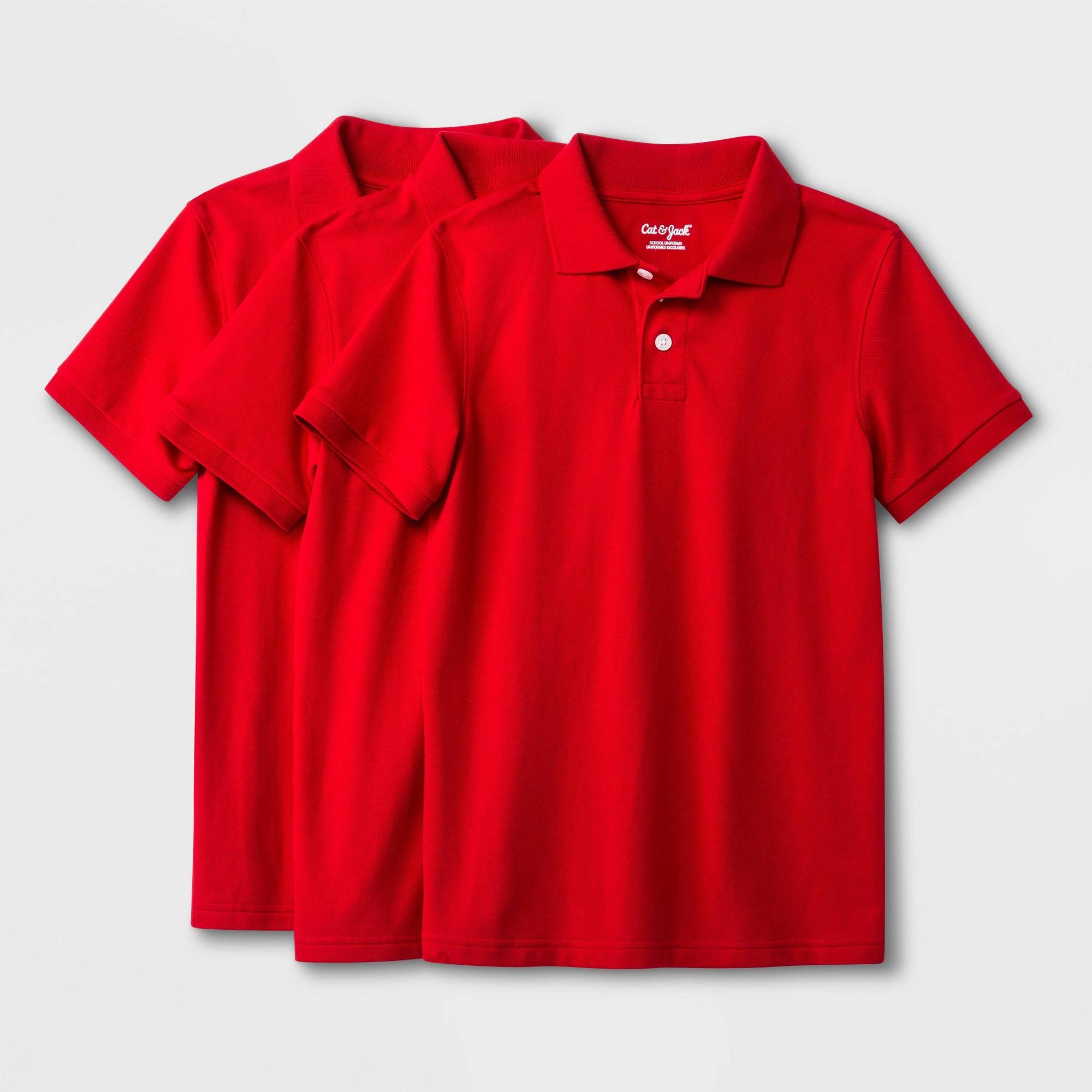 Boys' 3pk Short Sleeve Pique Uniform Polo Shirt - Cat & Jack Red Pop XL