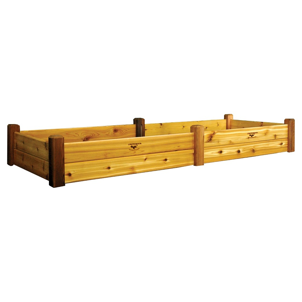 "Image of ""97.25 x 36.25"""" x 13"""" Raised Rectangular Garden Bed with Safe Finish- Western Red Cedar - Gronomics, Red Cedar Finished"""