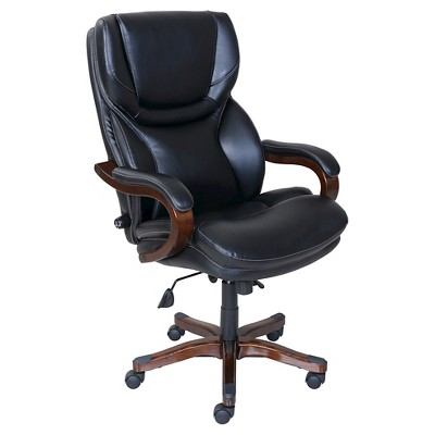 Exceptionnel Executive Office Chair In Black Bonded Leather   Serta
