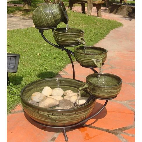Smart Living Bamboo Leaf Solar Cascade Fountain