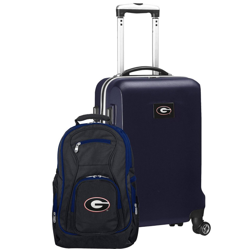 NCAA Georgia Bulldogs Deluxe 2pc Backpack & Carry-On Luggage Set - Navy (Blue)