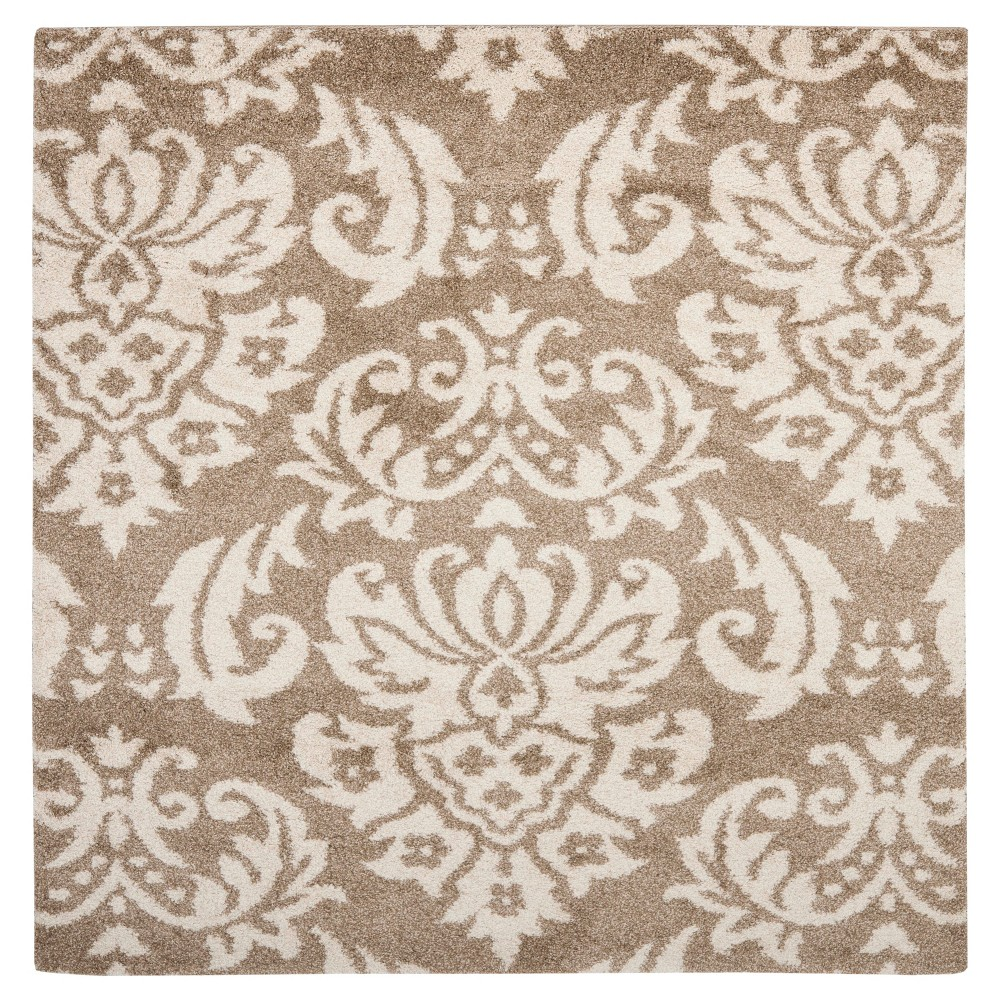 Beige/Cream Abstract Loomed Square Area Rug - (6'7