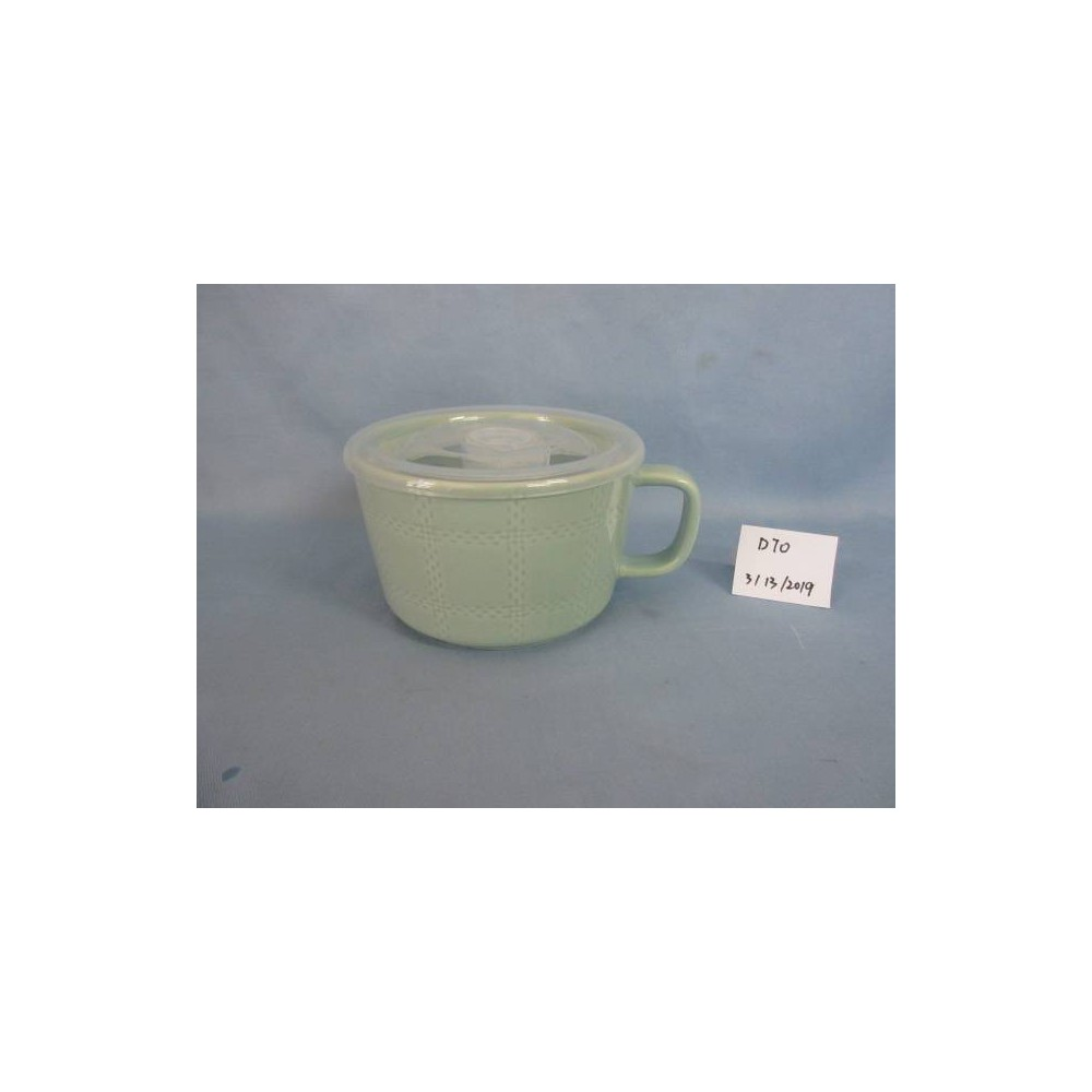 Image of 17.6oz Stoneware Plaid Soup Mug Blue - Threshold