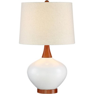 360 Lighting Mid Century Modern Table Lamp Ceramic Ivory Off White Tapered Drum Shade for Living Room Family Bedroom Bedside