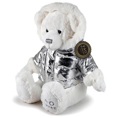 "FAO Schwarz Toy Plush 13"" Bear in Silver Jacket"