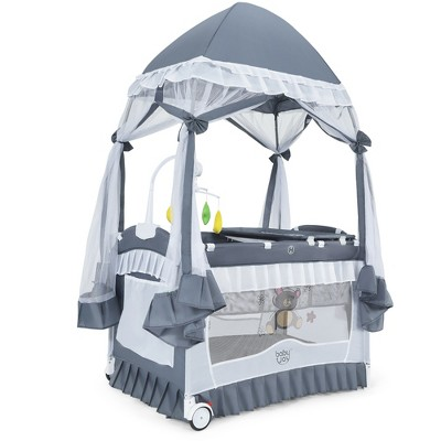 Costway 4 in 1 Portable Baby Playard Crib Bassinet Bed w/Changing Table Canopy Music Box