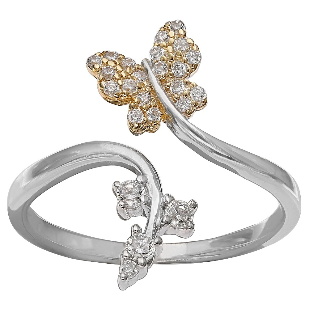 Women's Clear Cubic Zirconia Pave Butterfly Ring in Two Tone Sterling Silver - Gray/Gold (Size 8), Silver Clear Gold