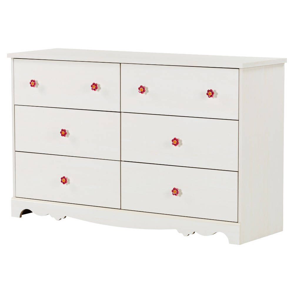 Lily Rose 6 - Drawer Double Dresser - White Wash - South Shore