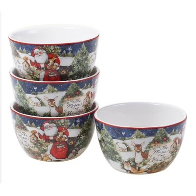 22oz 4pk Earthenware Magic of Christmas Santa Ice Cream Bowls - Certified International