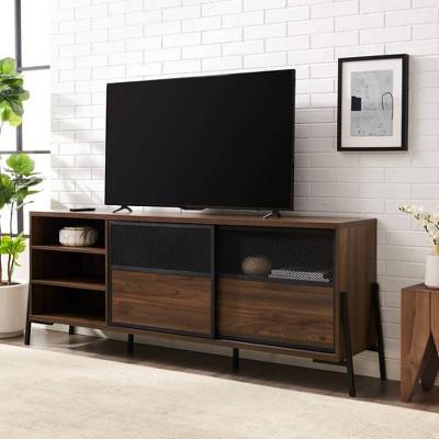 "Alpha Industrial Metal Mesh Sliding Door TV Stand for TVs up to 80"" - Saracina Home"