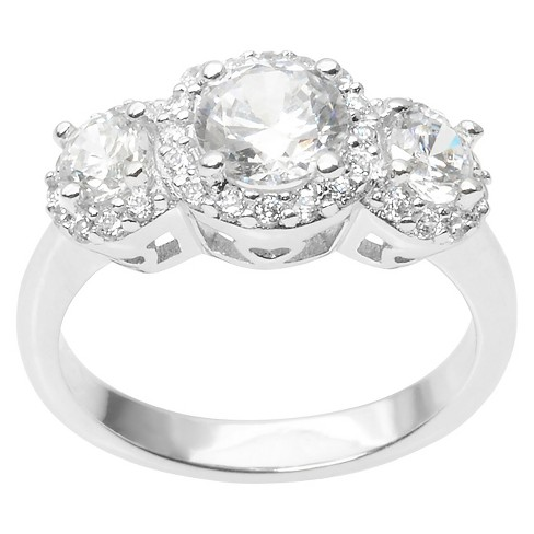 1 2/5 CT. T.W. Round Cut CZ Basket Set Polished Ring in Sterling Silver - Silver - image 1 of 3