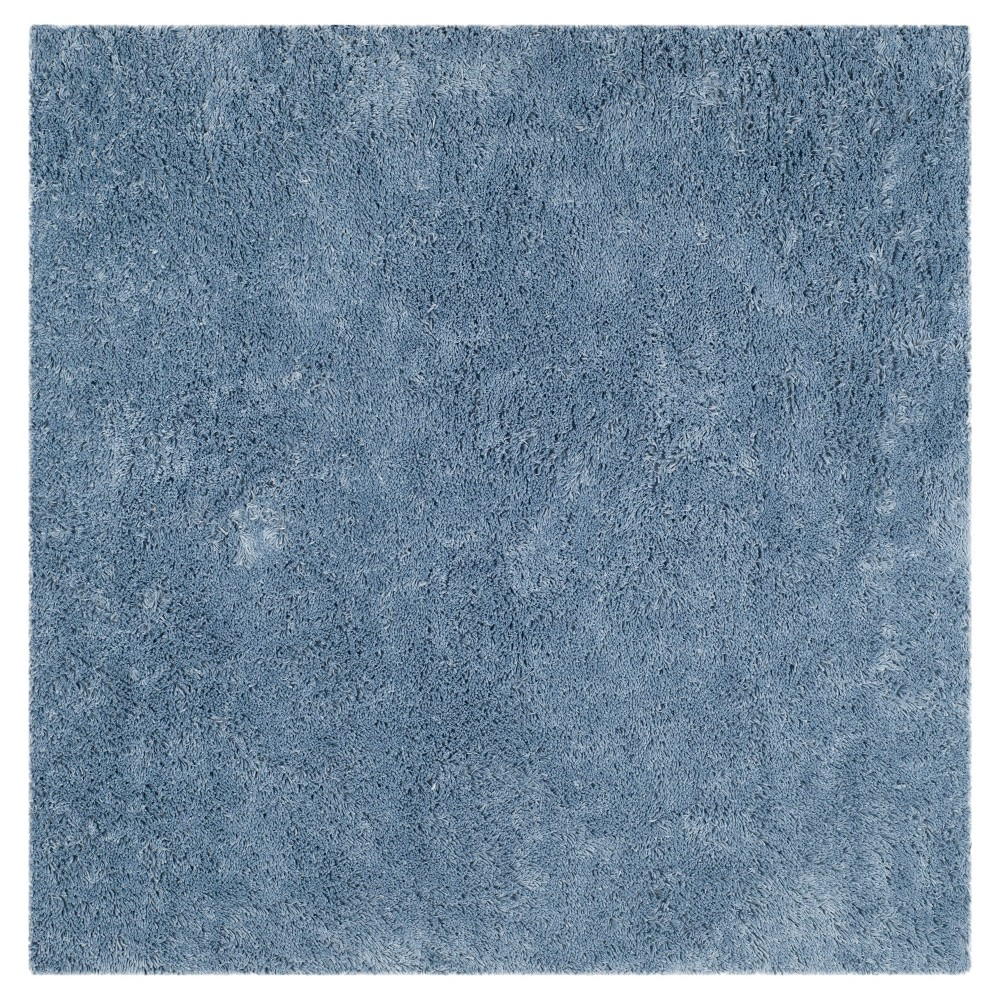 Light Blue Solid Tufted Square Area Rug - (7'x7') - Safavieh