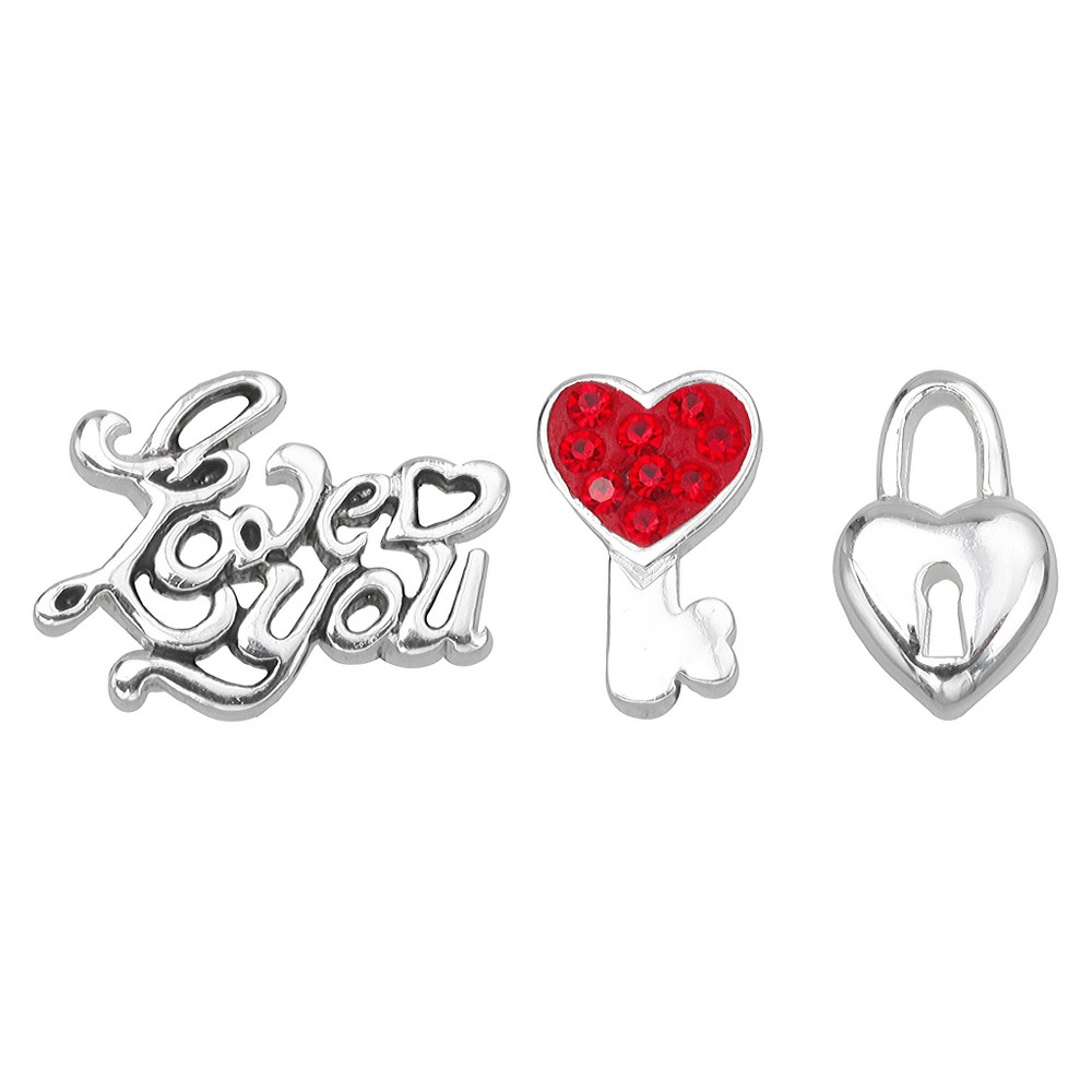 "Image of ""Treasure Lockets 3 Silver Plated Charm Set with """"I Love You"""" Theme - Silver/Red, Women's, Red/Silver"""